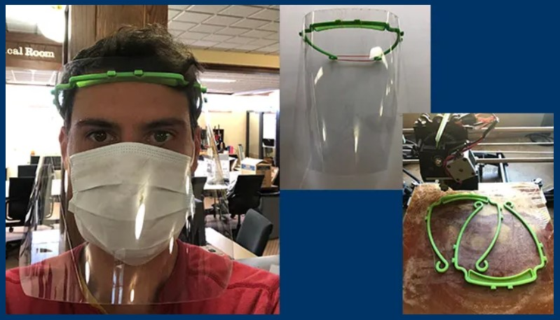 A man wearing a 3d printed ppe mask with clear plastic and a headband, and examples of 3d printed masks and parts
