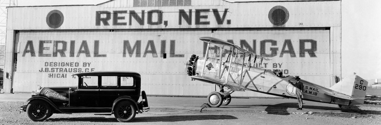 Photograph of Reno, Nevada; Aerial Mail Hangar; ca. 1930s; Photo by Nevada Photo Service;