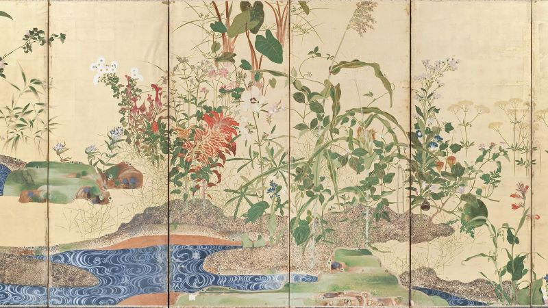 Flowers of Spring and Autumn - Japan, 19th century Paintings; screens Pair of six-panel screens; color and gold painting of flowers on paper