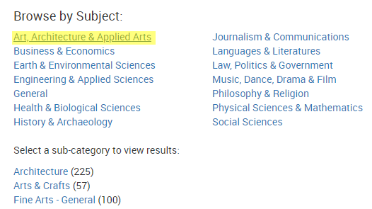 "Screenshot of the journal ""Browse by Subject"" area, which allows the user to browse journal subject categories and sub-categories by clicking on the desired link. The subject category of ""Art, Architecture & Applied Arts"" is highlighted in yellow."