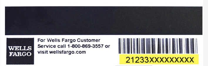 "Screenshot of a library account number on the back of a Wolf Card. The account number is highlighted in yellow and is found under the barcode. There is also a black square with the words ""WELLS FARGO"" in white letters. The image also provides a Wells Fargo Customer Service phone number and URL."