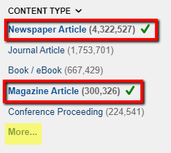 "Screenshot of the ""Content Type"" filter in OneSearch. The Content Types ""Newspaper Article"" and ""Magazine Article"" are enclosed in red rectangles, and both have a green checkmark to indicate they are selected. The link ""More…"" is highlighted in yellow to indicate this is where you click if you want to see the entire list of Content Types."
