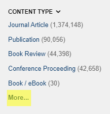 "Screenshot of the ""Content Type"" filter box in OneSearch. The link ""More…"" is highlighted in yellow to indicate this is where you click if you want to see the entire list of Content Types."