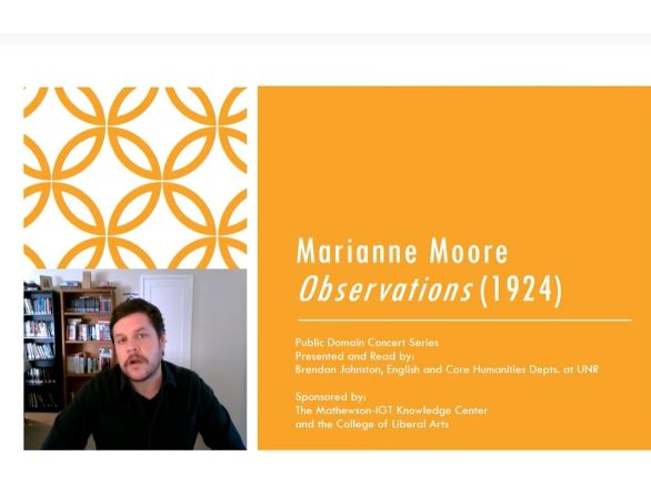 Brandon Johnston, English and Core Humanities Department powerpoint slide with his image in the lower left corner and Marianne Moore Observations (1924) on the slide