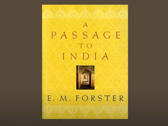 The cover of the book A Passage To India which is yellow with an image of a doorway